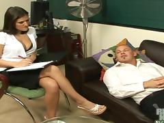 Wonderful Austin Kincaid Does A Titjob For Her Patient In Her Office