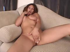 Big tit amature strips, fingers, sucks and fucks