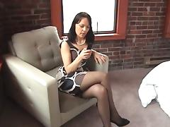 Gorgeous Brunette Wearing Sexy Stockings Masturbates