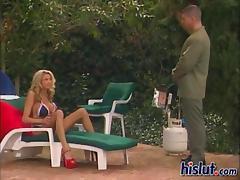 Blonde bimbo Briana takes it up the bum