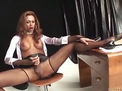 Lewd tranny Mirella gets her cock sucked and her ass slammed porn tube video