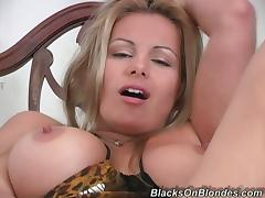 Stunning Babe With Huge Tits Gets Gangbanged By Several Black Dudes