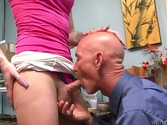 Tattooed blonde tranny Chelsea Marie blows and gets banged hard
