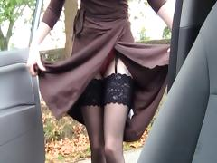 Car, British, Car, Fingering, Slut, Stockings