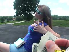 Brown-haired gives a titjob and rides a dick outdoors