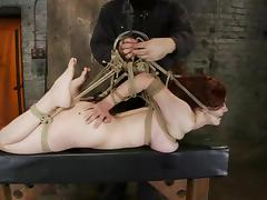 Redhead Iona Grace gets hog tied and toyed rough