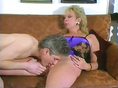 Mature blonde blows and gets her pierced cunt smashed