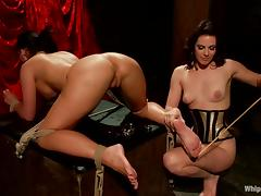 Smoking hot brunette gets her ass hooked and inserted