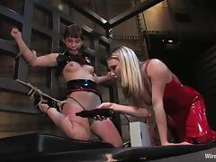Submissive Girl Face Sit and Strapon Fucked in Lesbian Bondage Sessoin