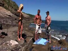 Beach, Beach, Big Cock, Blonde, Girlfriend, Group