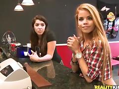 Two Brunettes Do A Wild Threesome With a Lucky Guy In A Reality Clip