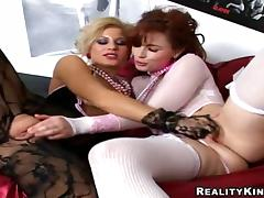 Dirty minded milfs in sexy erotic suits are in lesbian tube porn video