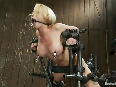 Madison Scott cums a few times while being tormented in BDSM scene