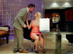 Busty Victoria Summers gets banged from behind after sucking a cock
