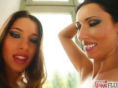 A couple of sweet brunette babes who love licking pussy and exploring some hot bodies