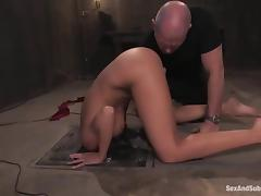 Gorgeous brunette gives a hot blowjob being trapped and waxed