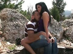 Madison Parker blows and gets her pussy pounded doggy style outdoors