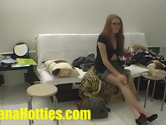 Redhead artist at her first casting