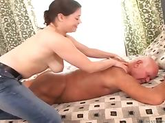 Busty brunette Lara enjoys sucking and riding some hard old cock