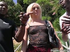 Horny Blonde Slut Gets Gangbanged By Several Black Guys