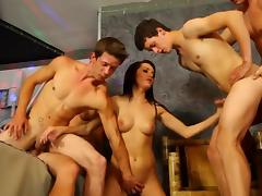 Sexy slut in group sucking cock tube porn video