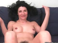 Grandma with hairy pussy gets fingered