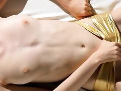 Super skinny girl strip her snatch