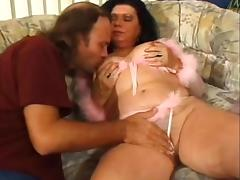 Unshaved old floozy gazoo drilled tube porn video