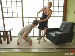 Lakko gets whipped and pinched by his sexy mistress