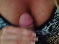 Rubbing my dick between her tits