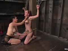 Mz Berlin is living through a breast bondage and suspension