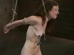 Rain DeGrey enjoys torturing skinny brunette Seda in a basement tube porn video