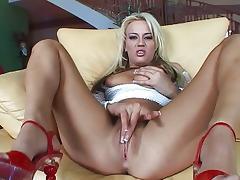 Blonde rubbing her tight twat