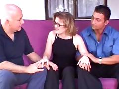 Stunning Mrs. Hayes Wearing Glasses Fucks Two Dudes In A Reality Clip