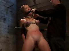 Busty and slender hick gets gagged and tied up tube porn video