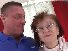 Dillon Day fondles skinny titless granny Marcela and fucks her