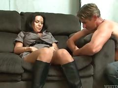 Big tittied transsexual babe gets her dick sucked
