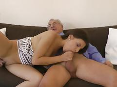Brunette Charley love to fuck with old dick