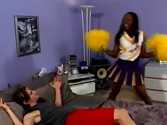 Ebony girl in cheerleader uniform gets fucked by White man