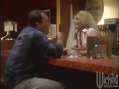 Sexy blonde in a uniform suck and ride a dick in a cafe