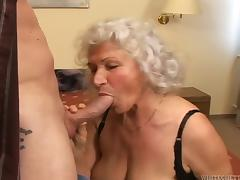 Marinoka gets her old airy cunt fucked and filled with jizz