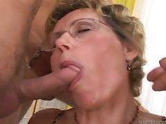 Luciana the mature slut fucks three dudes and gets facialed