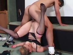 Glamorous milf with trimmed pussy is sucking this pole
