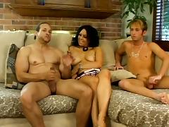 Samantha Roxx gets face-fucked by two bisexual men and enjoys it tube porn video