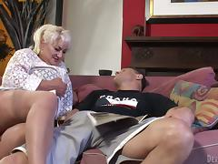 Blonde granny Dana Hayes gives head and gets fucked doggy style
