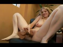 Horny blonde chick uses big dildo and cock to pleasure pussy