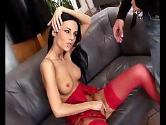 Sexy brunette in stockings gets her pussy and ass fucked deep