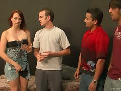 Slutty Nicki Hunter gets gangbanged and creampied