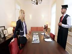 British slut Samantha gets fucked in a Ffm threesome tube porn video