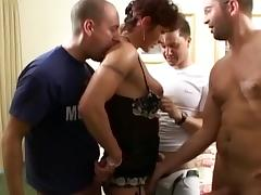 Curly-haired mature fuck with gang of hard dicks tube porn video